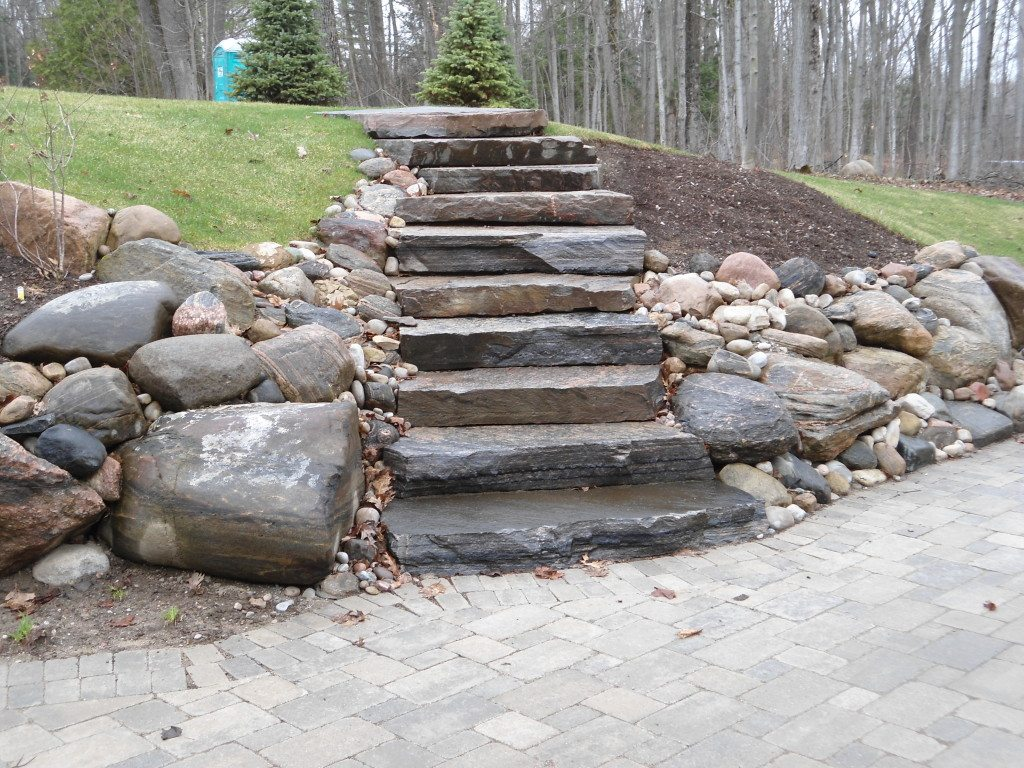 Natural stone steps husky property maintenancehusky for Pictures of stone steps